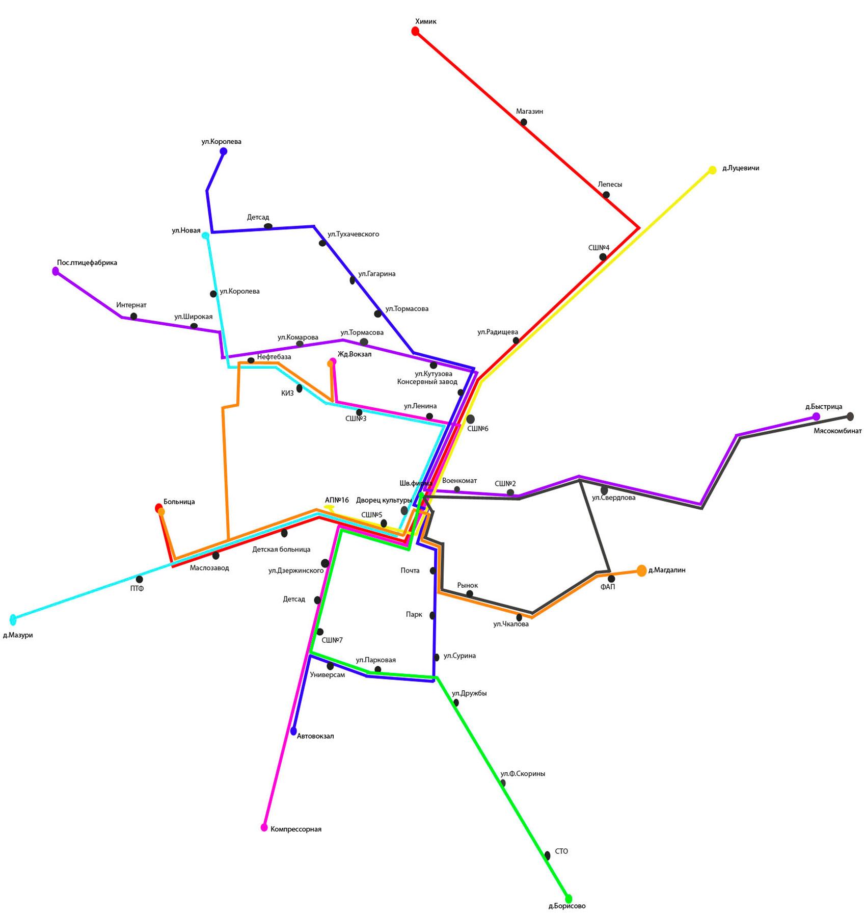 Схема движения городских автобусов г. Кобрина