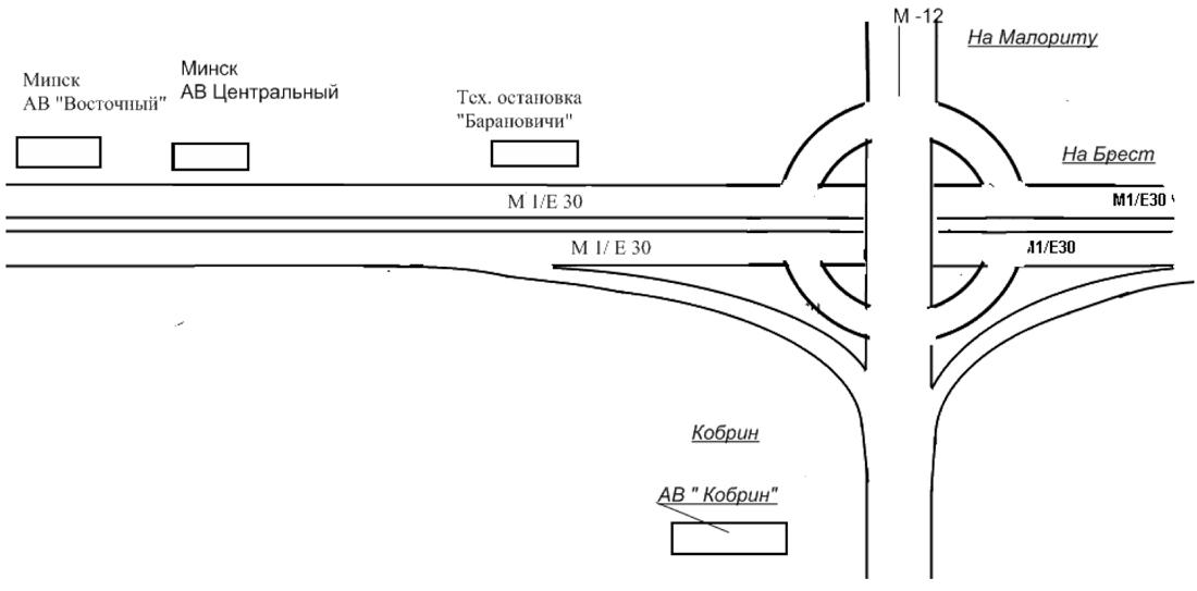 Схема движения автобуса на маршруте междугороднего сообщения № 500 Кобрин - Минск