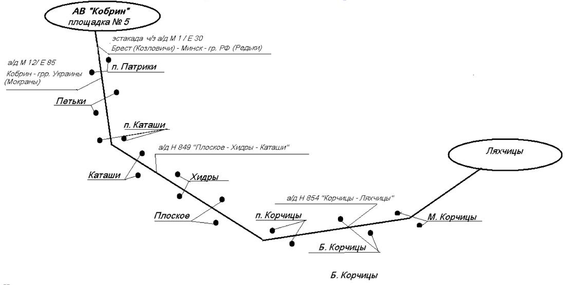 Схема движения автобуса на маршруте № 219 Кобрин - Ляхчицы