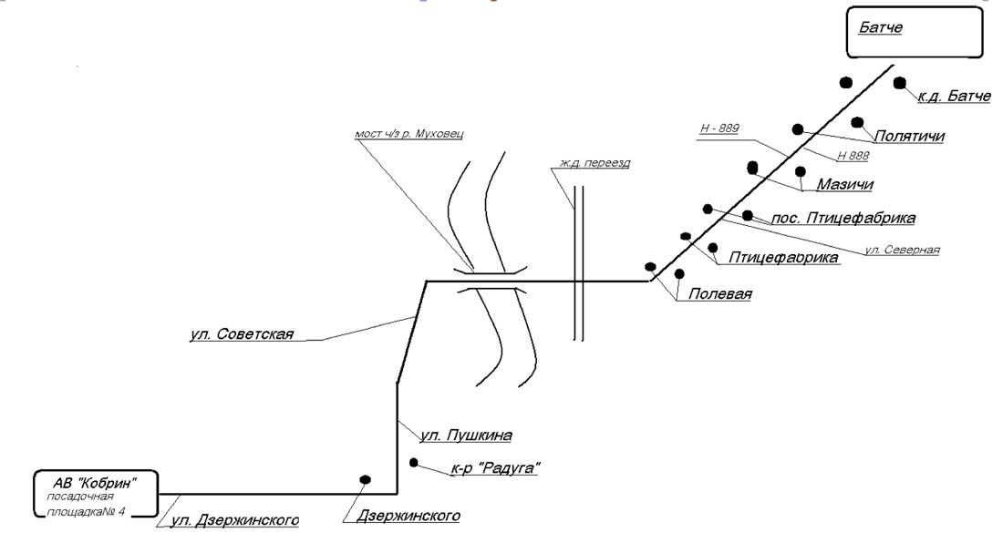 Схема движения автобуса на маршруте № 239 Кобрин - Батче